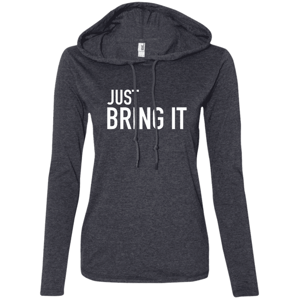 Just Bring It Hoodies Apparel CustomCat 887L Anvil Ladies' LS T-Shirt Hoodie Heather Dark Grey/Dark Grey Small