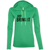 Just Bring It Hoodies Apparel CustomCat 887L Anvil Ladies' LS T-Shirt Hoodie Heather Green/Neon Yellow Small
