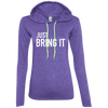 Just Bring It Hoodies Apparel CustomCat 887L Anvil Ladies' LS T-Shirt Hoodie Heather Purple/Neon Yellow Small