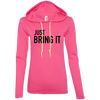 Just Bring It Hoodies Apparel CustomCat 887L Anvil Ladies' LS T-Shirt Hoodie Hot Pink/Neon Yellow Small
