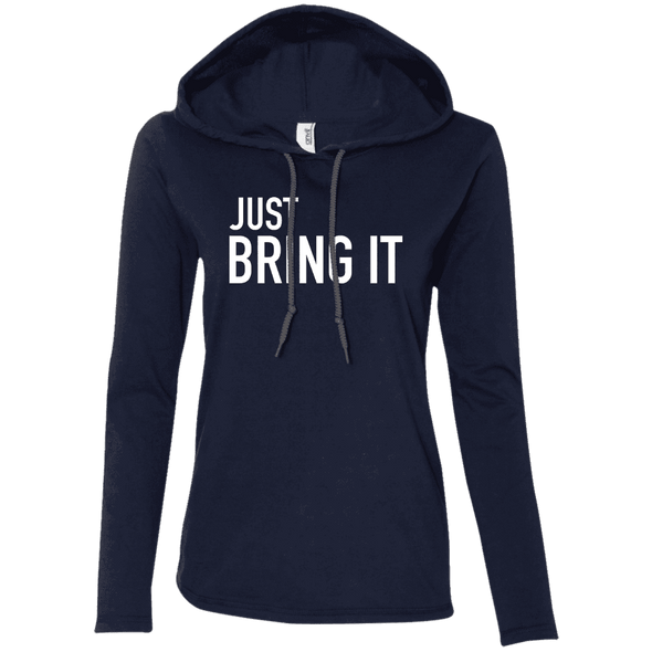 Just Bring It Hoodies Apparel CustomCat 887L Anvil Ladies' LS T-Shirt Hoodie Navy/Dark Grey Small