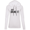 Just Bring It Hoodies Apparel CustomCat 887L Anvil Ladies' LS T-Shirt Hoodie White/Dark Grey Small