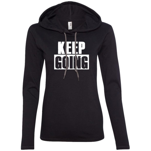 Keep Going Hoodie T-Shirts CustomCat Black/Dark Grey S
