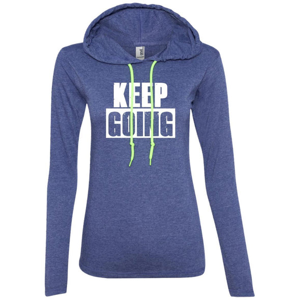Keep Going Hoodie T-Shirts CustomCat Heather Blue/Neon Yellow S