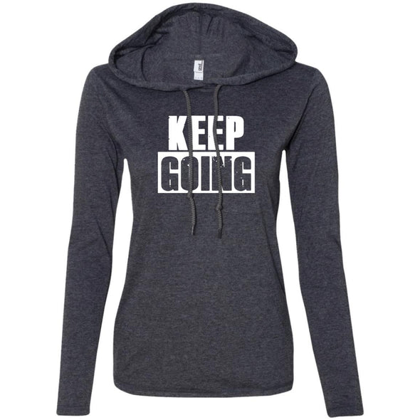 Keep Going Hoodie T-Shirts CustomCat Heather Dark Grey/Dark Grey S