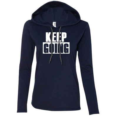 Keep Going Hoodie T-Shirts CustomCat Navy/Dark Grey S
