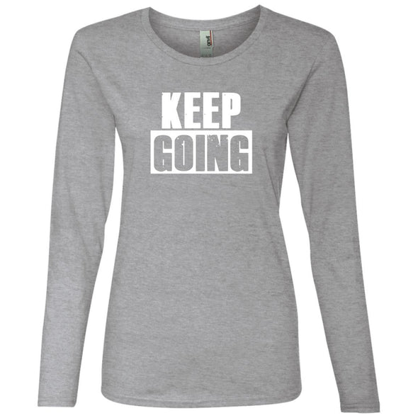 Keep Going Long Sleeve T-Shirts CustomCat Heather Grey S