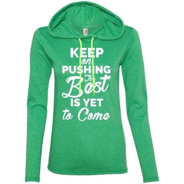 Keep Pushing Best Yet to Come T-Shirts CustomCat Heather Green/Neon Yellow S
