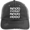 Kinda Classy Kinda Hood Distressed Trucker Cap Apparel CustomCat 6990 Distressed Unstructured Trucker Cap Black/Grey One Size