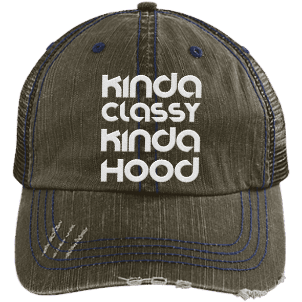 Kinda Classy Kinda Hood Distressed Trucker Cap Apparel CustomCat 6990 Distressed Unstructured Trucker Cap Brown/Navy One Size