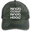 Kinda Classy Kinda Hood Distressed Trucker Cap Apparel CustomCat 6990 Distressed Unstructured Trucker Cap Dark Green/Navy One Size