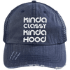 Kinda Classy Kinda Hood Distressed Trucker Cap Apparel CustomCat 6990 Distressed Unstructured Trucker Cap Navy/Navy One Size