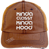 Kinda Classy Kinda Hood Distressed Trucker Cap Apparel CustomCat 6990 Distressed Unstructured Trucker Cap Orange/Navy One Size