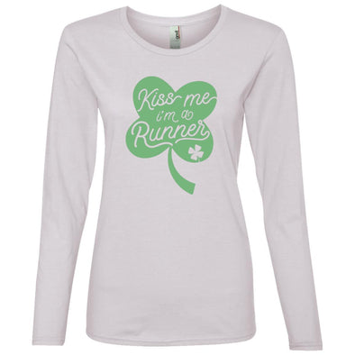 Kiss me I'm a Runner Clover Long Sleeve T-Shirt T-Shirts CustomCat White S