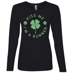 Kiss me I'm a Runner Long Sleeve T-Shirt T-Shirts CustomCat Black S