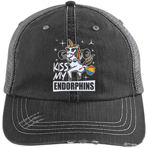 Kiss My Endorphins Hat Apparel CustomCat Distressed Unstructured Trucker Cap Black/Grey One Size