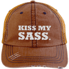 Kiss My Sass Distressed Trucker Cap Apparel CustomCat 6990 Distressed Unstructured Trucker Cap Orange/Navy One Size