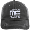 Leave Me Alone (Distressed Unstructured Trucker Cap) Hats CustomCat