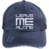 Leave Me Alone (Distressed Unstructured Trucker Cap) Hats CustomCat Navy/Navy One Size