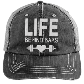 Life Behind Bars Hats CustomCat Black/Grey One Size
