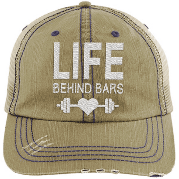 Life Behind Bars Hats CustomCat Khaki/Navy One Size