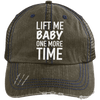 Lift Me Baby One More Time Distressed Trucker Cap Apparel CustomCat 6990 Distressed Unstructured Trucker Cap Brown/Navy One Size