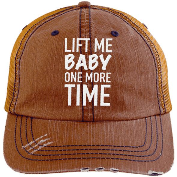 Lift Me Baby One More Time Distressed Trucker Cap Apparel CustomCat 6990 Distressed Unstructured Trucker Cap Orange/Navy One Size
