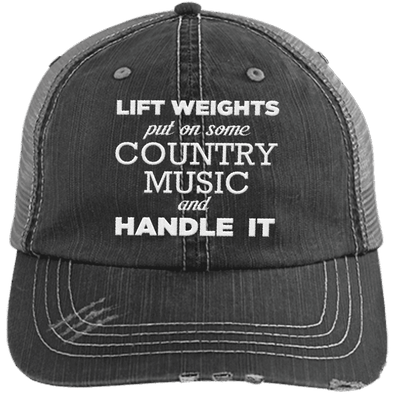Lift Weights & Country Music Distressed Trucker Cap Apparel CustomCat 6990 Distressed Unstructured Trucker Cap Black/Grey One Size