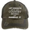 Lift Weights & Country Music Distressed Trucker Cap Apparel CustomCat 6990 Distressed Unstructured Trucker Cap Brown/Navy One Size