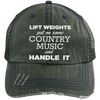 Lift Weights & Country Music Distressed Trucker Cap Apparel CustomCat 6990 Distressed Unstructured Trucker Cap Dark Green/Navy One Size