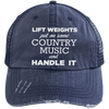 Lift Weights & Country Music Distressed Trucker Cap Apparel CustomCat 6990 Distressed Unstructured Trucker Cap Navy/Navy One Size
