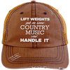 Lift Weights & Country Music Distressed Trucker Cap Apparel CustomCat 6990 Distressed Unstructured Trucker Cap Orange/Navy One Size