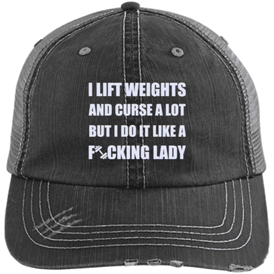 Lift Weights & Curse a Lot Distressed Trucker Cap Apparel CustomCat 6990 Distressed Unstructured Trucker Cap Black/Grey One Size