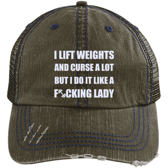 Lift Weights & Curse a Lot Distressed Trucker Cap Apparel CustomCat 6990 Distressed Unstructured Trucker Cap Brown/Navy One Size