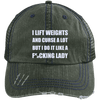 Lift Weights & Curse a Lot Distressed Trucker Cap Apparel CustomCat 6990 Distressed Unstructured Trucker Cap Dark Green/Navy One Size