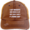 Lift Weights & Curse a Lot Distressed Trucker Cap Apparel CustomCat 6990 Distressed Unstructured Trucker Cap Orange/Navy One Size