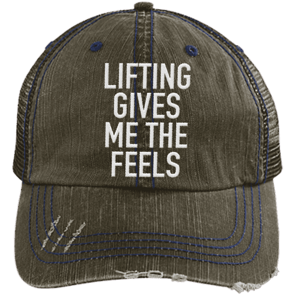 Lifting Gives Me the Feels Trucker Cap Apparel CustomCat 6990 Distressed Unstructured Trucker Cap Brown/Navy One Size