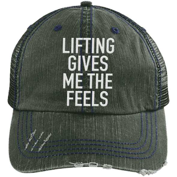 Lifting Gives Me the Feels Trucker Cap Apparel CustomCat 6990 Distressed Unstructured Trucker Cap Dark Green/Navy One Size