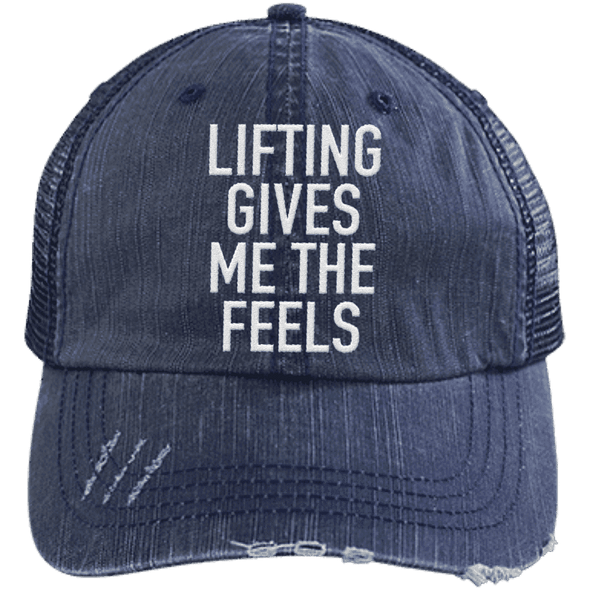 Lifting Gives Me the Feels Trucker Cap Apparel CustomCat 6990 Distressed Unstructured Trucker Cap Navy/Navy One Size