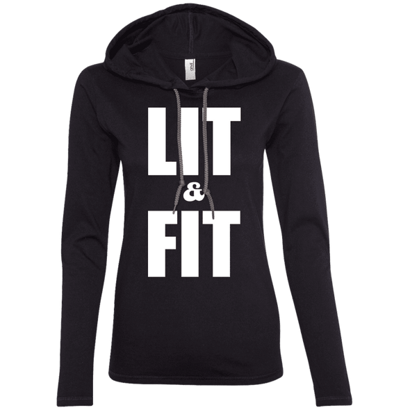 Lit & Fit Hoodies Apparel CustomCat 887L Anvil Ladies' LS T-Shirt Hoodie Black/Dark Grey Small