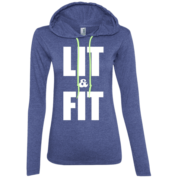 Lit & Fit Hoodies Apparel CustomCat 887L Anvil Ladies' LS T-Shirt Hoodie Heather Blue/Neon Yellow Small