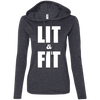 Lit & Fit Hoodies Apparel CustomCat 887L Anvil Ladies' LS T-Shirt Hoodie Heather Dark Grey/Dark Grey Small