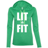 Lit & Fit Hoodies Apparel CustomCat 887L Anvil Ladies' LS T-Shirt Hoodie Heather Green/Neon Yellow Small