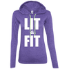 Lit & Fit Hoodies Apparel CustomCat 887L Anvil Ladies' LS T-Shirt Hoodie Heather Purple/Neon Yellow Small