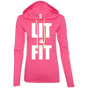 Lit & Fit Hoodies Apparel CustomCat 887L Anvil Ladies' LS T-Shirt Hoodie Hot Pink/Neon Yellow Small