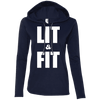 Lit & Fit Hoodies Apparel CustomCat 887L Anvil Ladies' LS T-Shirt Hoodie Navy/Dark Grey Small