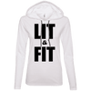 Lit & Fit Hoodies Apparel CustomCat 887L Anvil Ladies' LS T-Shirt Hoodie White/Dark Grey Small