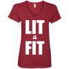 Lit & Fit Tees Apparel CustomCat 88VL Anvil Ladies' V-Neck T-Shirt Independence Red Small