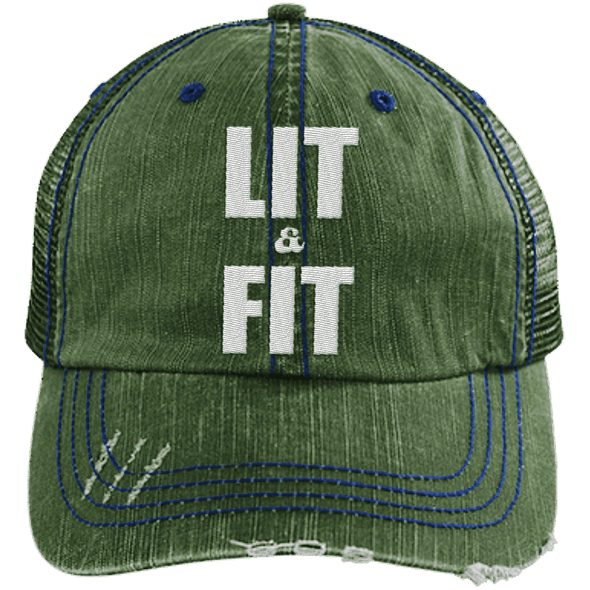 Lit & Fit Trucker Cap Apparel CustomCat 6990 Distressed Unstructured Trucker Cap Dark Green/Navy One Size