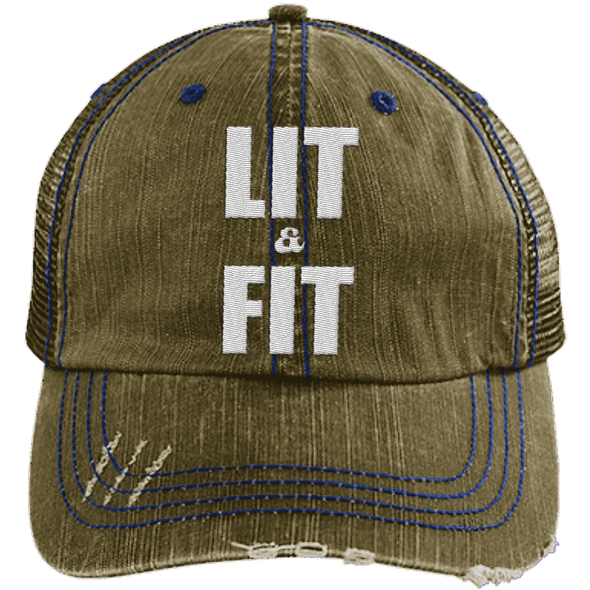 Lit & Fit Trucker Cap Apparel CustomCat 6990 Distressed Unstructured Trucker Cap Navy/Navy One Size